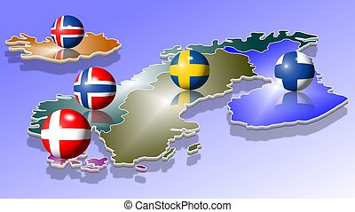 A map of five Scandinavian countries with their flags shaped as balls