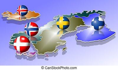 Scandinavia - A map of five Scandinavian countries with...