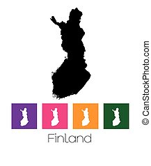 Map of the country of Finland