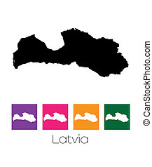 Map of the country of Latvia