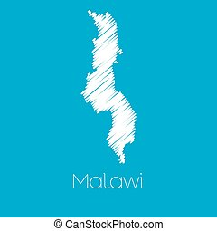 Map of the country of Malawi