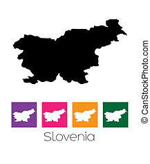 Map of the country of Slovenia