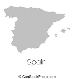 Map of the country of Spain