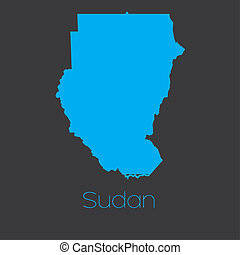 Map of the country of Sudan