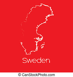 Map of the country of Sweden
