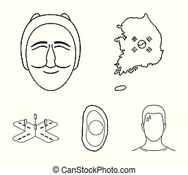 A map of the state with a flag, a Korean mask, a national egg meal, a crossroads with traffic lights. South Korea set collection icons in outline style vector symbol stock illustration web.