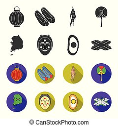 A map of the state with a flag, a Korean mask, a national egg meal, a crossroads with traffic lights. South Korea set collection icons in black,flet style vector symbol stock illustration web.