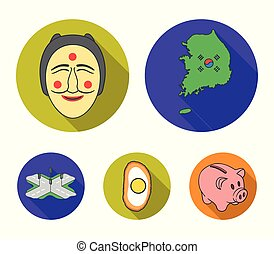 A map of the state with a flag, a Korean mask, a national egg meal, a crossroads with traffic lights. South Korea set collection icons in flat style vector symbol stock illustration web.