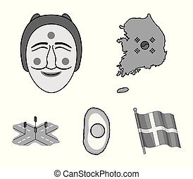 A map of the state with a flag, a Korean mask, a national egg meal, a crossroads with traffic lights. South Korea set collection icons in monochrome style vector symbol stock illustration web.