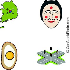 A map of the state with a flag, a Korean mask, a national egg meal, a crossroads with traffic lights. South Korea set collection icons in cartoon style vector symbol stock illustration web.