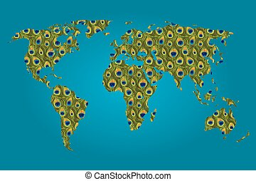 Map of the world filled with a Peacock pattern
