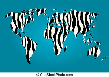 Map of the world filled with a Zebra pattern