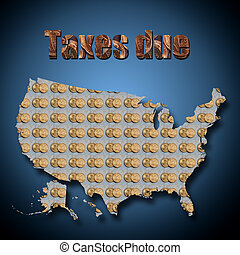 A map of USA with coins