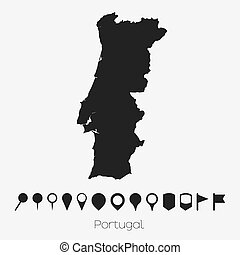 Map with pointers of the country of Portugal