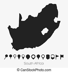 Map with pointers of the country of South Africa