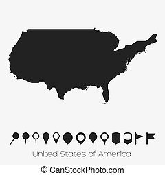 Map with pointers of the country of United States of America