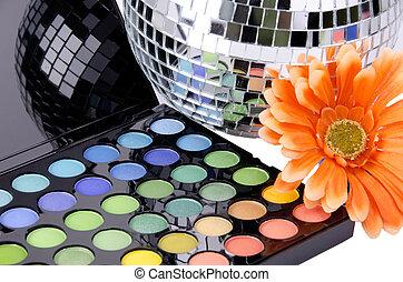 a, maquillage, multi coloré, palette.
