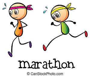 Illustration of a marathon between two stickmen on a white background