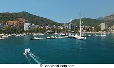 A marina for yachts and boats near the old town of Budva, ...