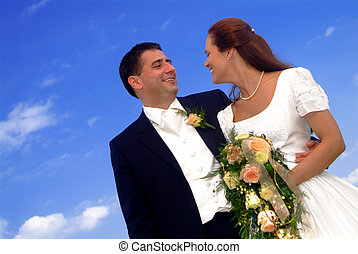 marriage pair - a marriage pair with the blue sky in ...