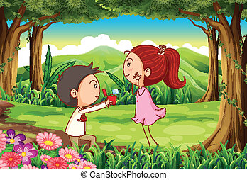 A marriage proposal at the forest