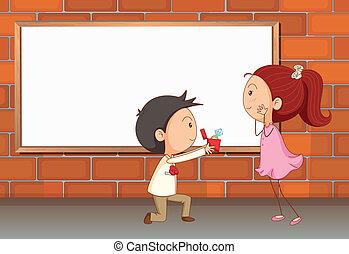 A marriage proposal near the empty board