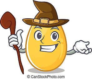 a mascot concept of golden egg performed as a witch