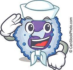 A mascot design of basophil cell Sailor wearing hat. Vector ...