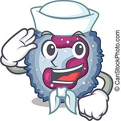A mascot design of neutrophil cell Sailor wearing hat. ...