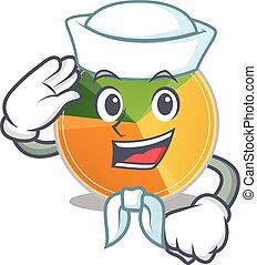 A mascot design of pie chart Sailor wearing hat