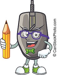A mascot icon of Student black mouse character holding pencil