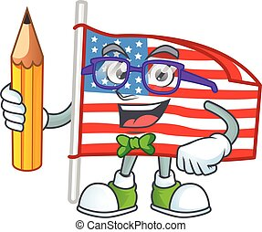A mascot icon of Student USA flag with pole character holding pencil