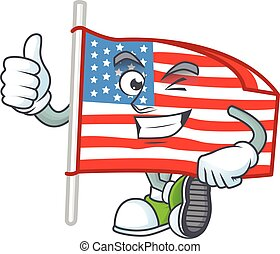 A mascot icon of USA flag with pole making Thumbs up gesture