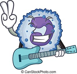 A mascot of basophil cell performance with guitar. Vector ...
