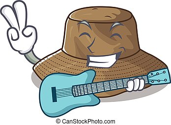 A mascot of bucket hat performance with guitar
