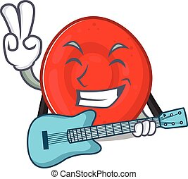 A mascot of erythrocyte cell performance with guitar. Vector...