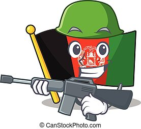 A mascot of flag afghanistan Scroll Army with machine gun