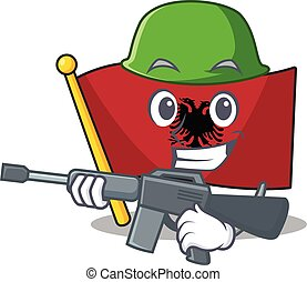 A mascot of flag albania Scroll Army with machine gun