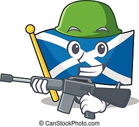A mascot of flag scotland Scroll Army with machine gun