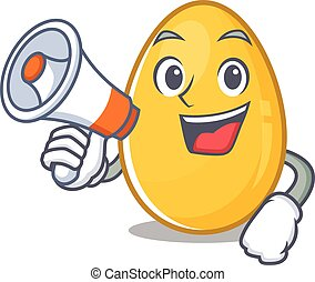 A mascot of golden egg speaking on a megaphone