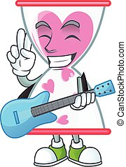 A mascot of love clock sand performance with guitar