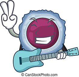A mascot of lymphocyte cell performance with guitar. Vector ...