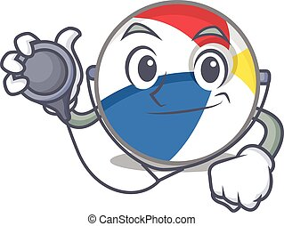 A mascot picture of beach ball cartoon as a Doctor with tools