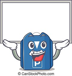 A mascot picture of parking disc raised up board. Vector ...