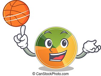 A mascot picture of pie chart cartoon character playing basketball