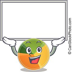 A mascot picture of pie chart raised up board