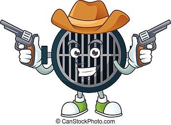 A masculine cowboy cartoon drawing of grill holding guns