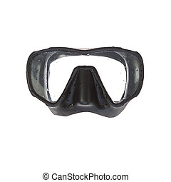 A mask for scuba diving. On a white background.