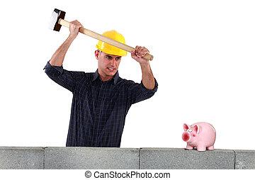 A mason smashing his piggy bank.
