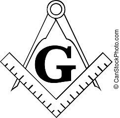 a, masonic, quadrado, e, compasso, símbolo, freemason